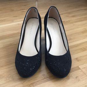 black bedazzled heels